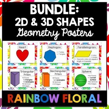 2D and 3D Shapes Poster BUNDLE   Rainbow FLORAL