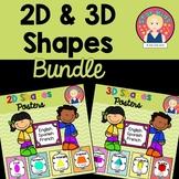 Las figuras geométricas en 2D y 3D BUNDLE {English, Spanis