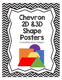 2D and 3D Shapes Posters - Chevron (Black)