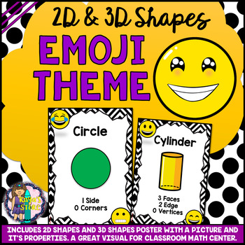 2D and 3D Shapes Posters Emoji Classroom Theme Series