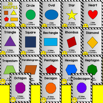 2D and 3D Shapes Posters Emoji Theme Series 2 (Back to School)