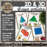 2D and 3D Shapes Posters (Rustic Wood)