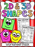 2D and 3D Shapes - Printable Worksheet Pack - NO PREP