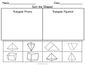 2D and 3D Shapes Sort: Solids and Flat Shapes- Geometry for Lower Elementary