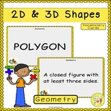 2D and 3D Shapes Vocabulary Cards
