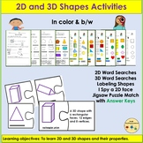 Shapes 2D and 3D Shapes, Word Searches, Cut/Paste Puzzles - PreK/K/Grade 1
