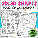 2D and 3D Shapes Worksheets | Distance Learning