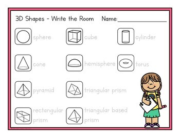 2D and 3D Shapes - Write the Room Activity