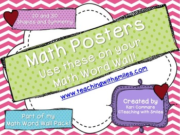 2D and 3D Shapes and Symmetry Math Word Wall Posters
