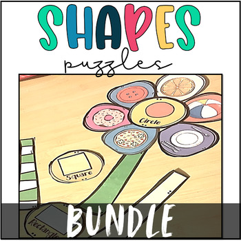 2D and 3D Shapes in the Real World- Flower Puzzles Math Center BUNDLE