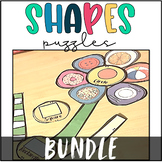 2D and 3D Shapes Math Centers- Flower Puzzles Bundle
