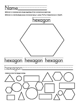 2D and 3D Shapes with worksheets and assessments kindergarten FL
