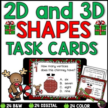 2D and 3D Task Cards  (Christmas Theme)