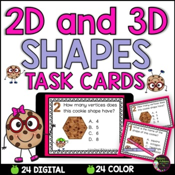 2D and 3D Shapes Task Cards  (Cookie Theme)
