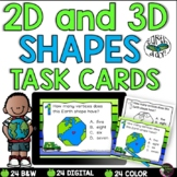 2D and 3D Shapes Task Cards  (Earth Day Theme)