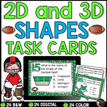 2D and 3D Task Cards  (Football Theme)