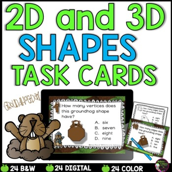 2D and 3D Task Cards  (Groundhog's Day Theme)