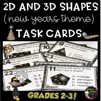 2d and 3d task cards new years theme