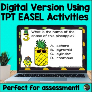 2D and 3D Shapes Task Cards  (Pineapple Theme)