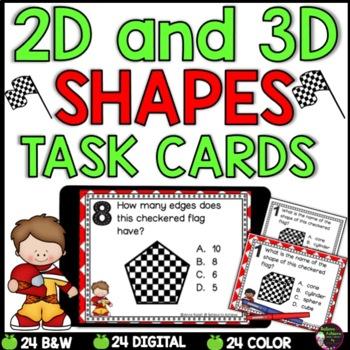 2D and 3D Task Cards  (Race Car Theme)