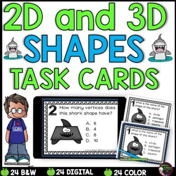 2D and 3D Task Cards  (Shark Theme)