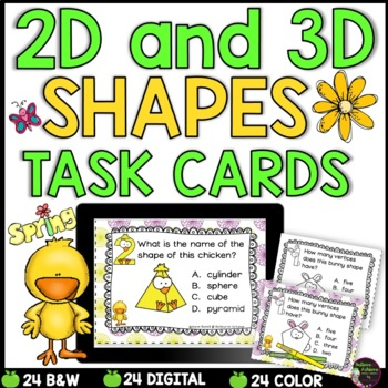 2D and 3D Task Cards  (Spring Theme)