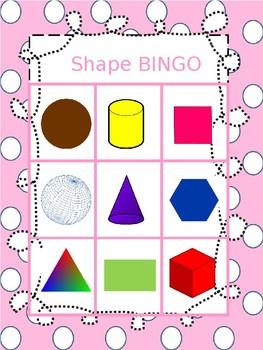 2D and 3D shape Bingo