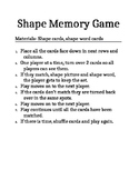 2D and 3D shape memory match game