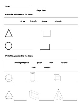 2d and 3d shape test by miss kiss teachers pay teachers. Black Bedroom Furniture Sets. Home Design Ideas