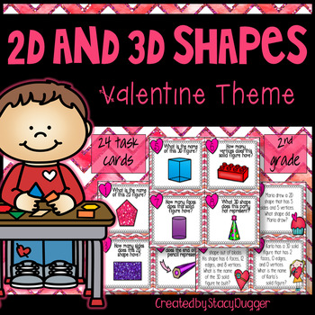 2D and 3D shapes - Valentine Themed Task Cards