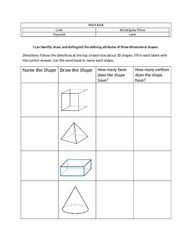 1.G.1   2D and 3D shapes assessment or worksheet