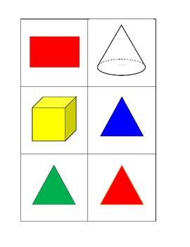 2D and 3D shapes calendar cards