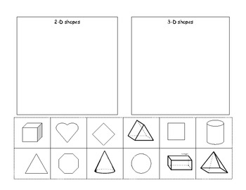 Worksheets 2d And 3d Shapes Worksheet 2d and 3d shapes worksheet delibertad cut paste by ashley robinson teachers pay