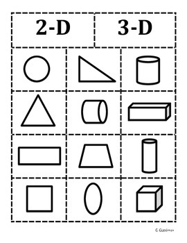 2D and 3D shapes sort