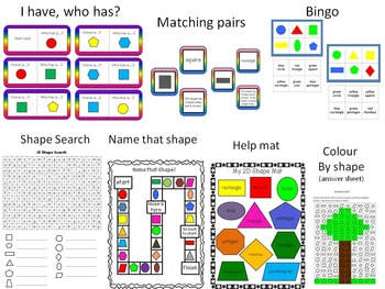 2D shape unit - games, posters and worksheets