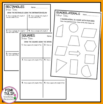 Five Worksheets: 2D shapes, Perimeter and Area, Triangles, Circles