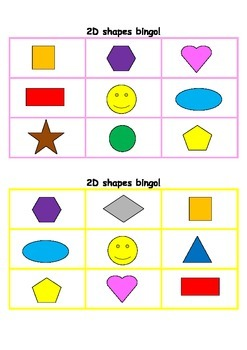 2D shapes bingo