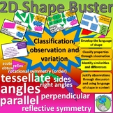 2D shapes, classification, variation, identification, descriptive vocabulary