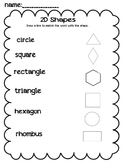 2D shapes draw a line to match worksheet