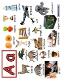 Letter A  Words, play dough mat/poster, printing. Reggio i
