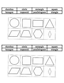 2D shapes matching/ foldable (2 per page)