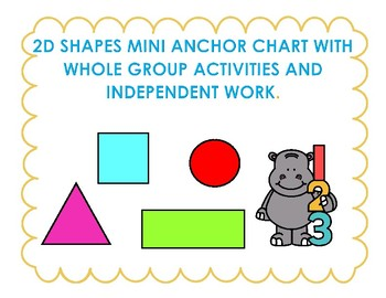 2D shapes mini anchor chart with activities