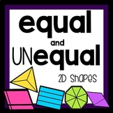 2D shapes with equal and unequal parts