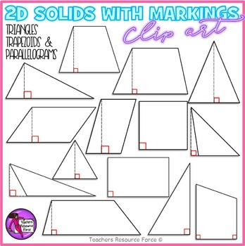 2D solids with height and right angle markings clipart