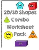 2D/3D Shape Combo Worksheet Pack