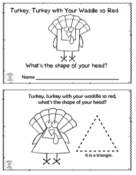 Math- 2D Shapes- Turkey, Turkey With Your Waddle So Red