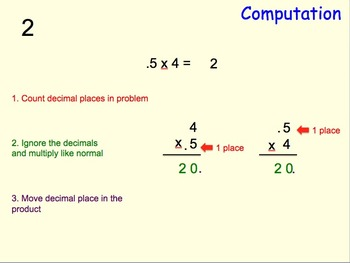 Decimals: Multiplying a Decimal by a Whole Number: MAC PowerPoint and Worksheets
