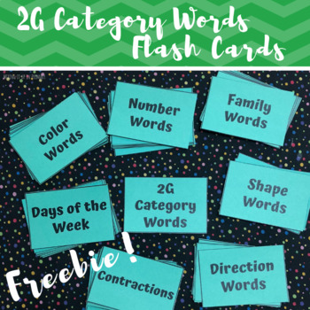 2G (2 Green) Category Words Flash Cards