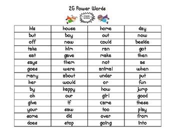 2G Power Words