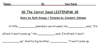 2G The Carrot Seed - LISTENING, QUESTIONS & VOCABULARY - Decker ESL